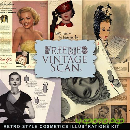 Scrap-kit - Retro Style Cosmetics Illustrations #1