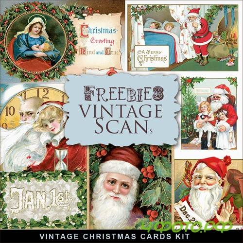 Scrap-kit - Vintage X-mas Postcards #11