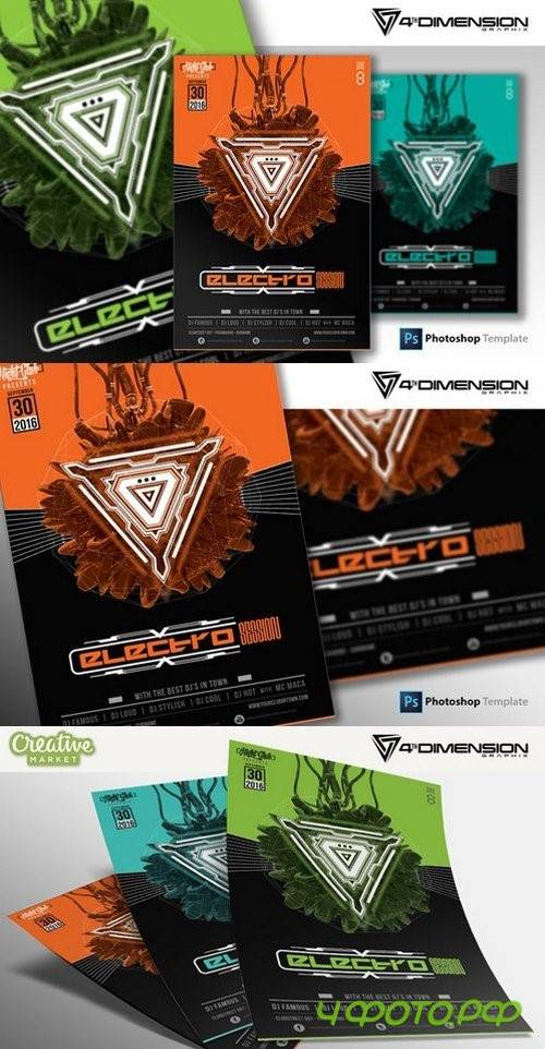 Electro Session Flyer Template - 923616