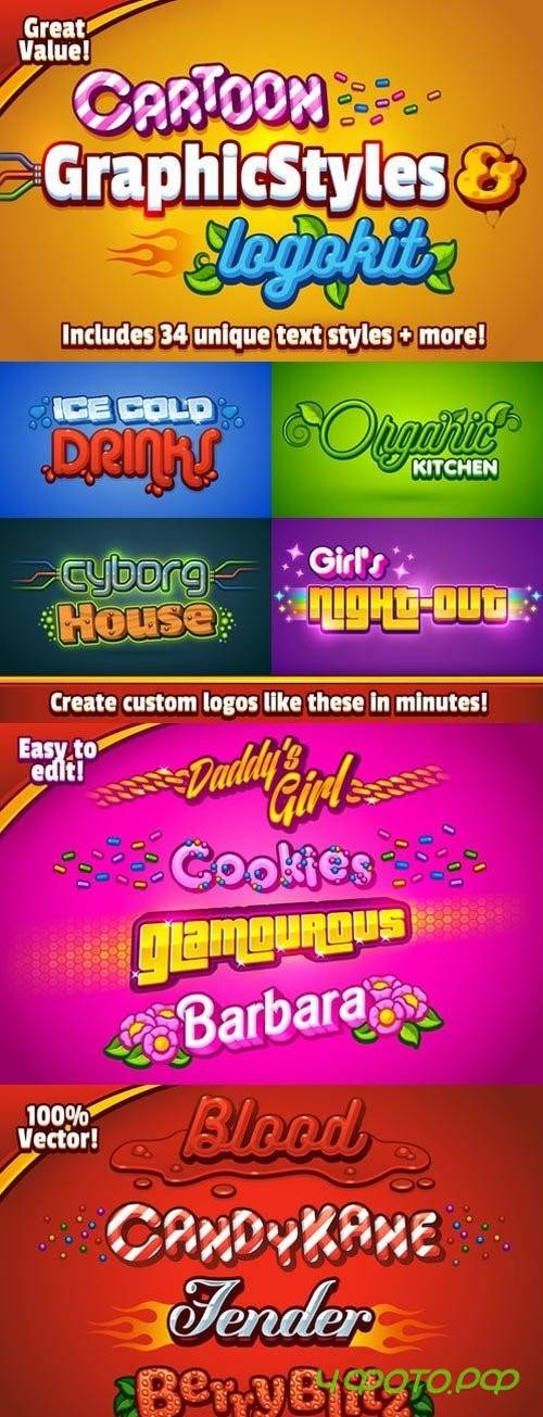 Cartoon Graphic Styles and Logo Kit 966756