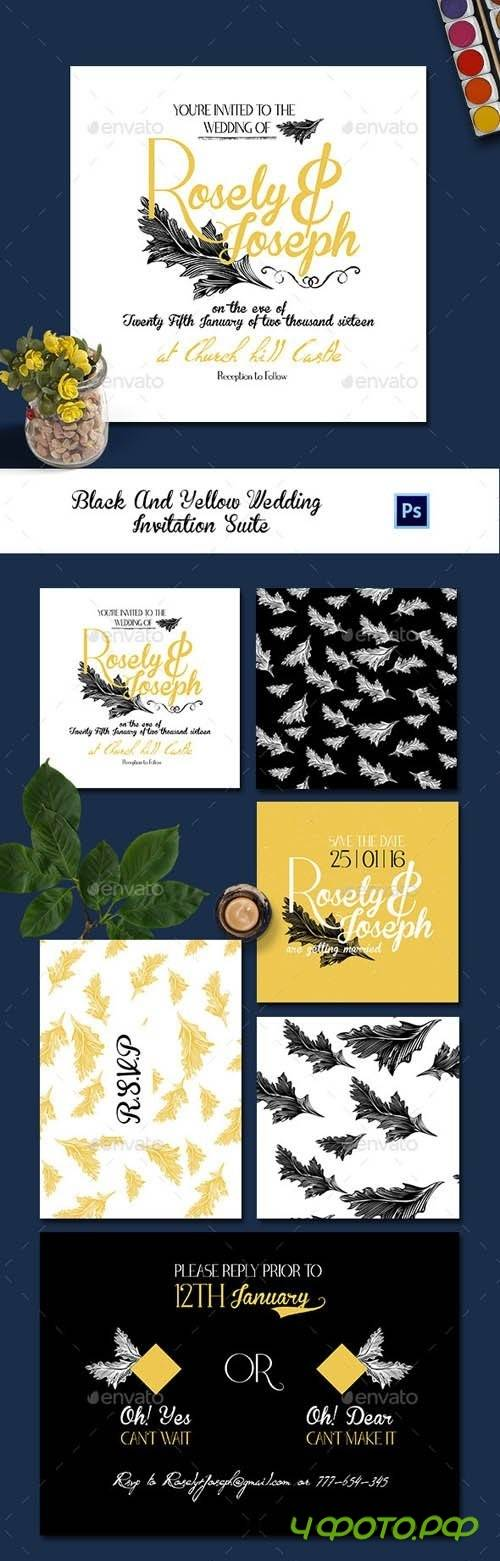 Black And Yellow Wedding Invitation Suite - 13667399