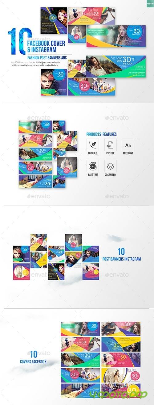 10 Facebook Cover & 10 Instagram Fashion Post Banners Ads - 17656114