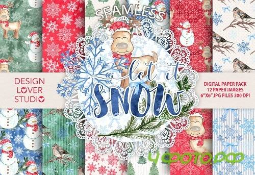 "Watercolor ""Let it snow"" papers - 924026"