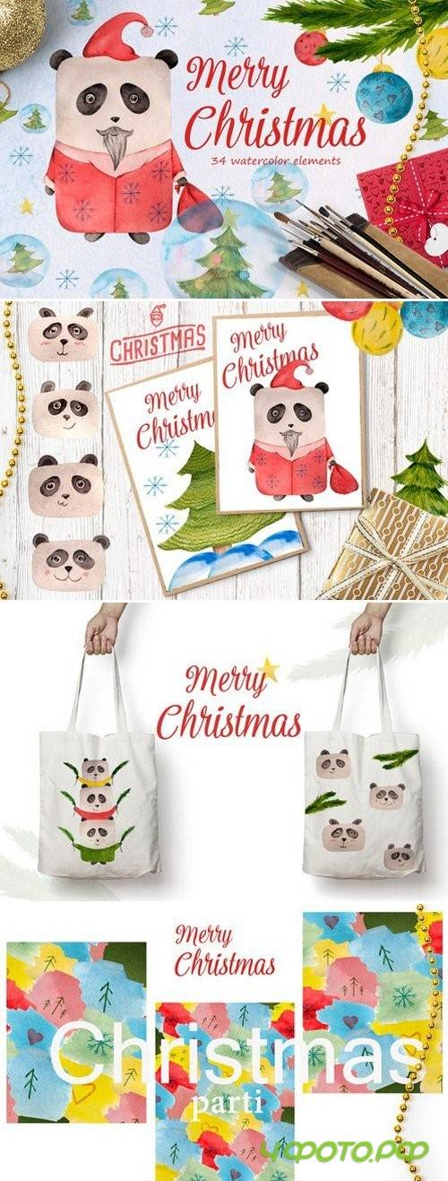 Watercolor Christmas Panda - 1056447