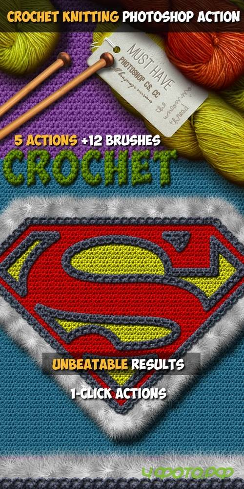Crochet Knitting Effect Photoshop Action - 19061443