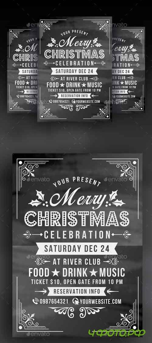 Christmas Celebration Flyer Chalk Style - 18884585