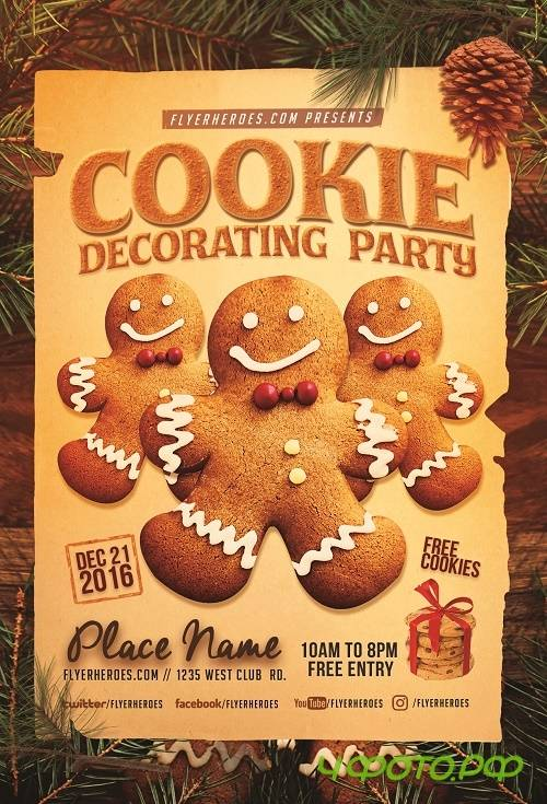Cookie Decorating Party Flyer Template
