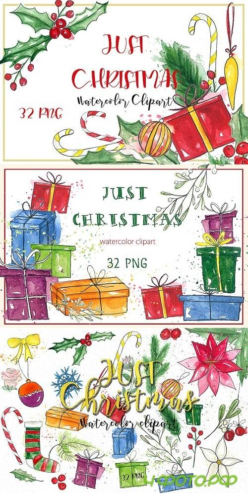 Just Christmas. Watercolor clipart - 937085