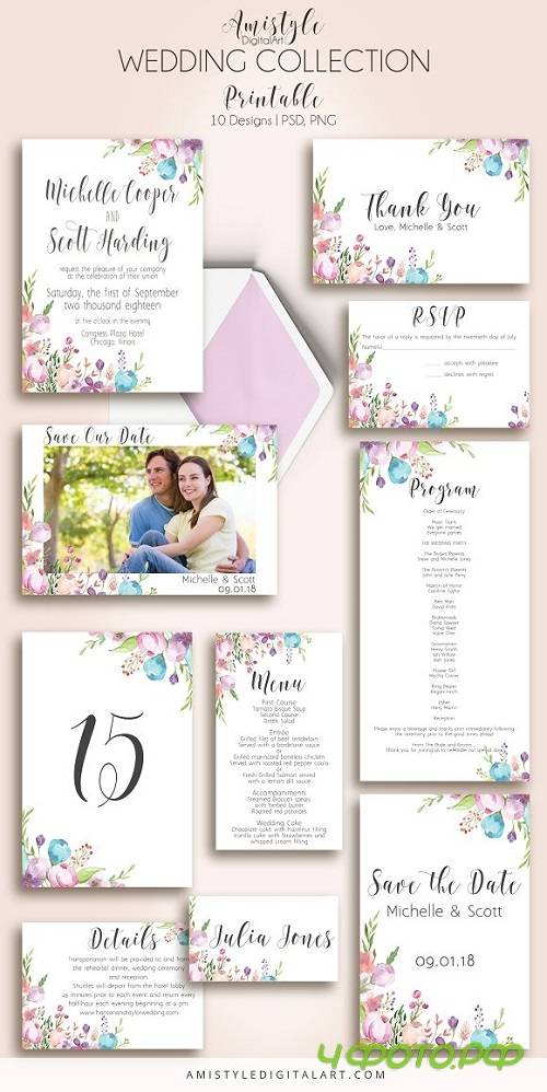 Floral Wedding Invitation Suite 1422260