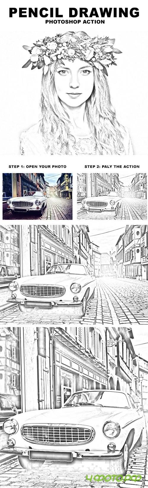 Pencil Drawing Photoshop Action 20133433