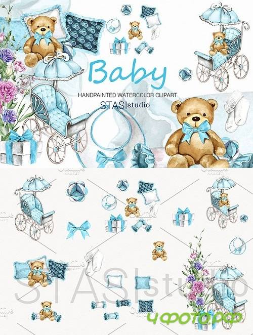 Baby Boy Watercolor Clipart 1585451