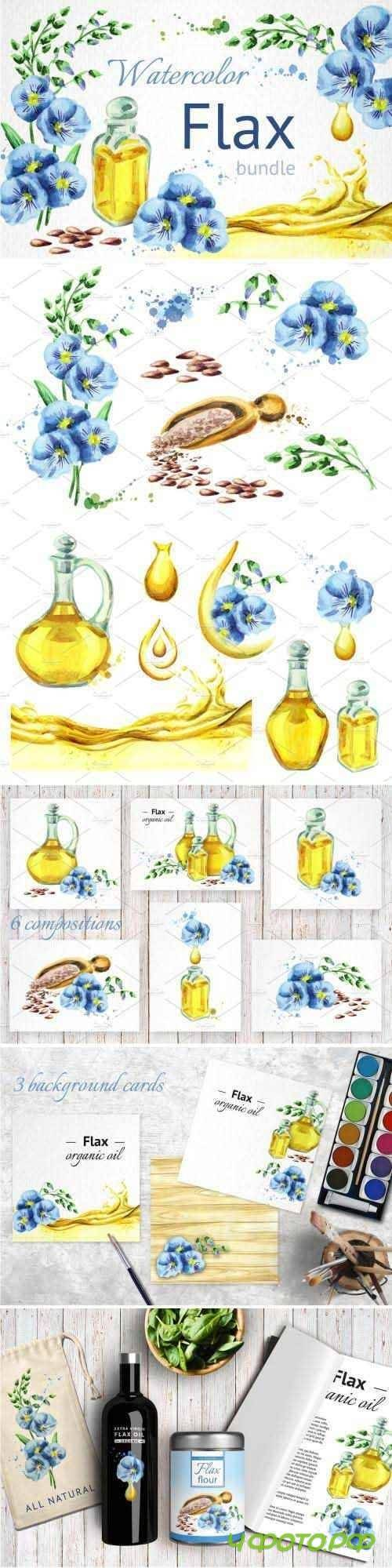 FLAX bundle. Hand painted watercolor - 1439310