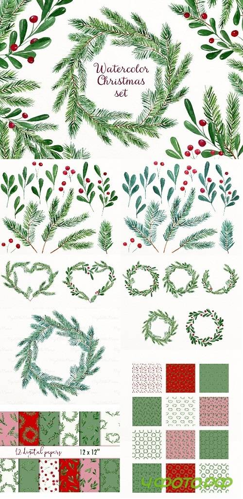 Christmas watercolor collection 2041474