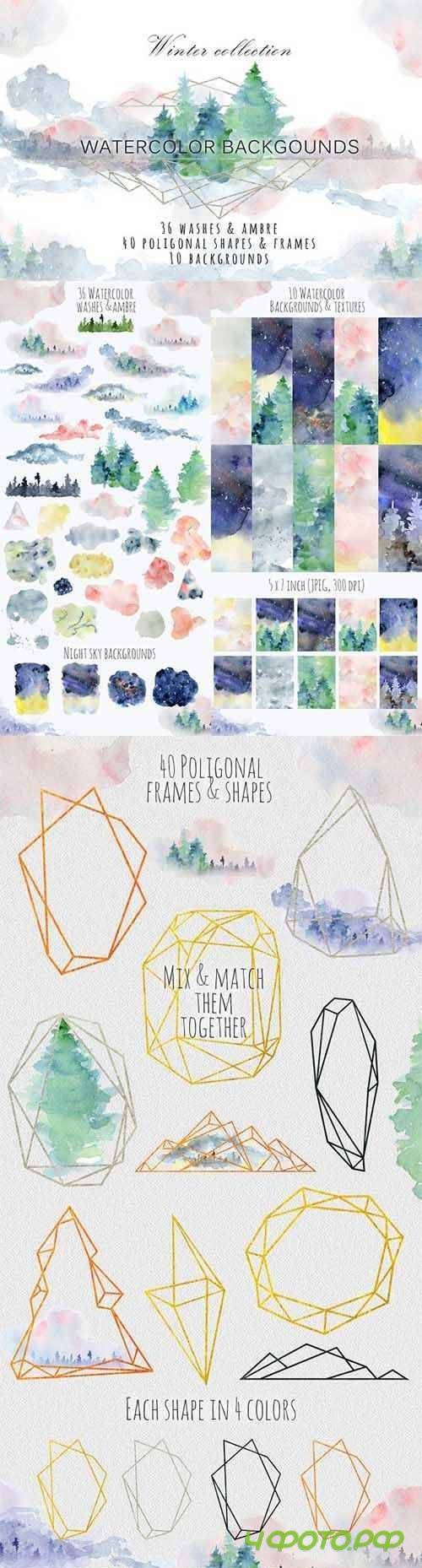Winter watercolor backgrounds - 2088256