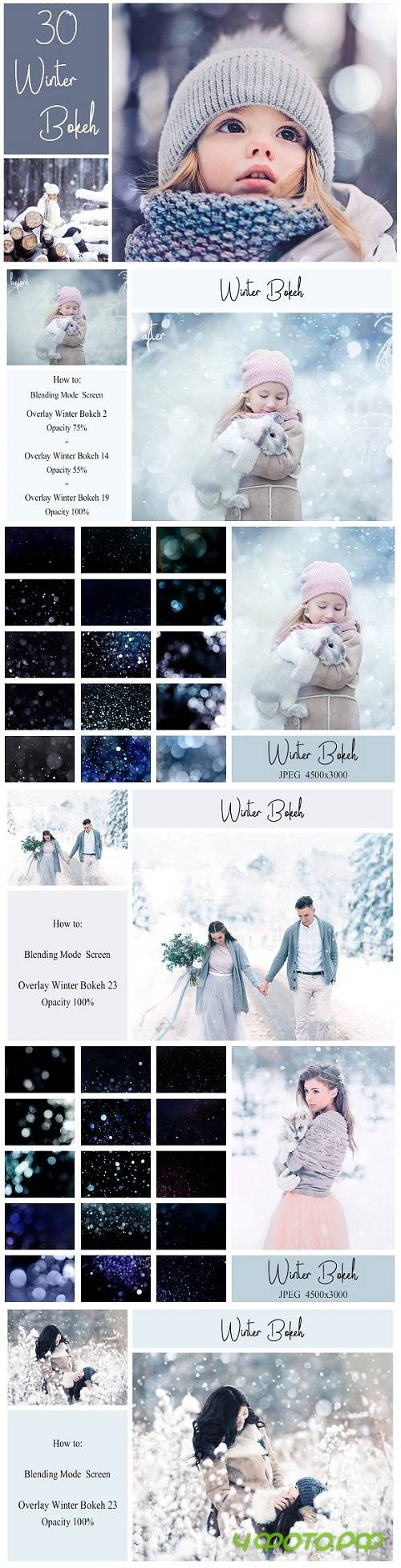 30 Winter Bokeh Overlays - 2052413
