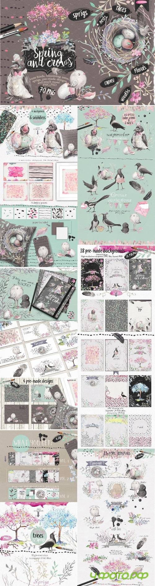 "Big bundle ""Spring and crows"" - 632048"