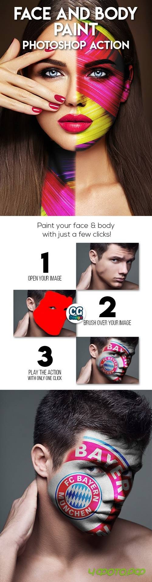 Face and Body Paint Photoshop Action 21494159