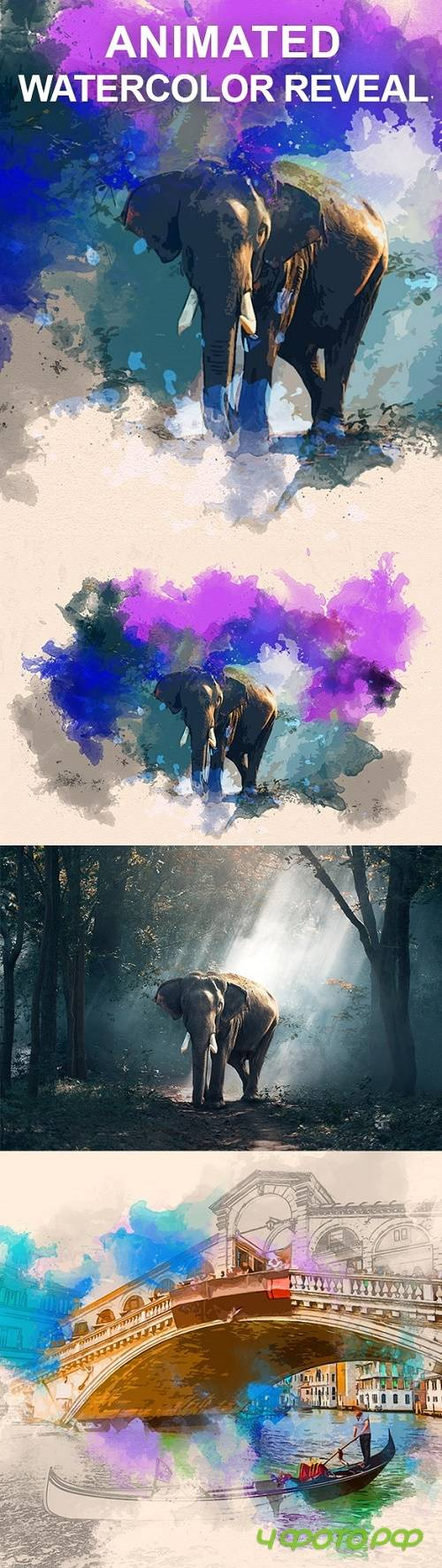 Animated Watercolor Reveal Photoshop Action 21721025