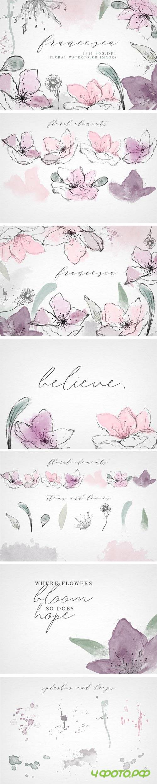 Watercolor Floral Clip Art Elements - 2338264