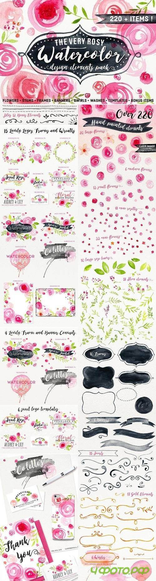 Hand Painted Watercolor Floral Pack 2459000