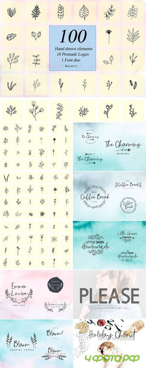 100 Hand Drawn Floral Elements 2457153