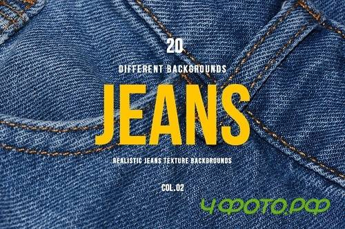 Realistic Jeans Texture Backgrounds | COL.02