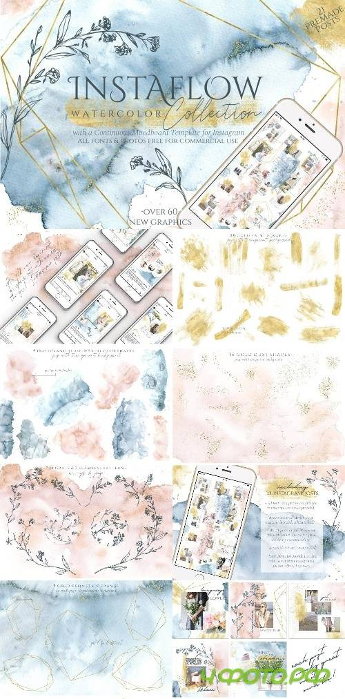Instaflow Watercolors & Template - 2644320