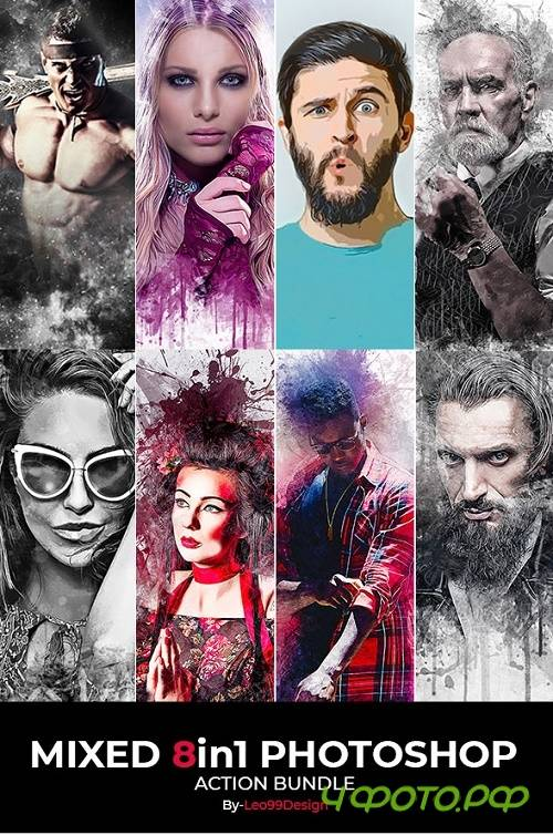 Mixed 8 In 1 Photoshop Action Bundle 22133245