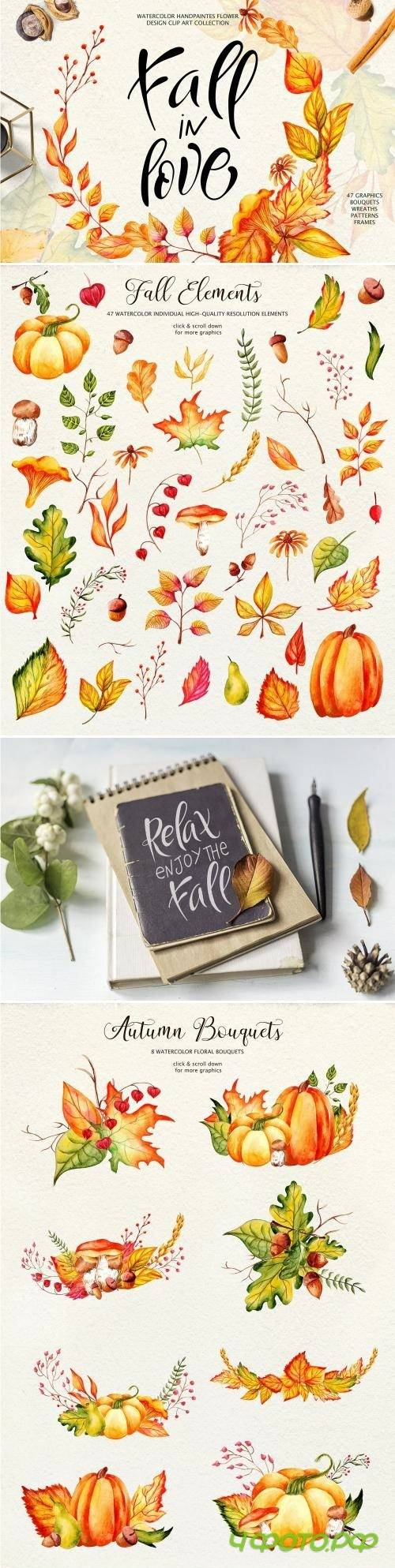 Fall in Love - Watercolor clipart - 2839334