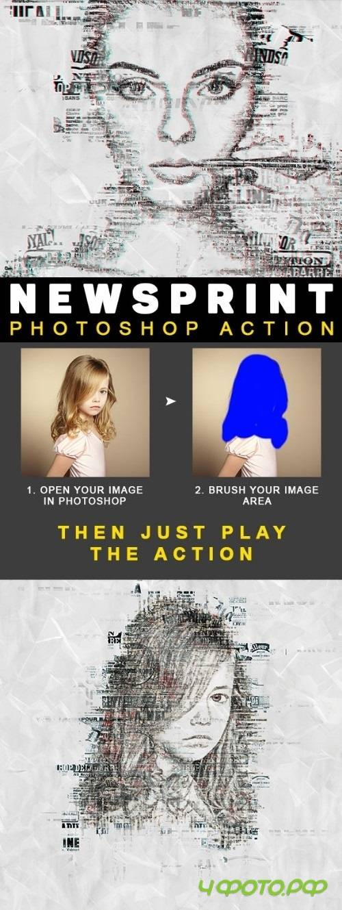 NewsPrint Photoshop Action | Photo Effects  22238827