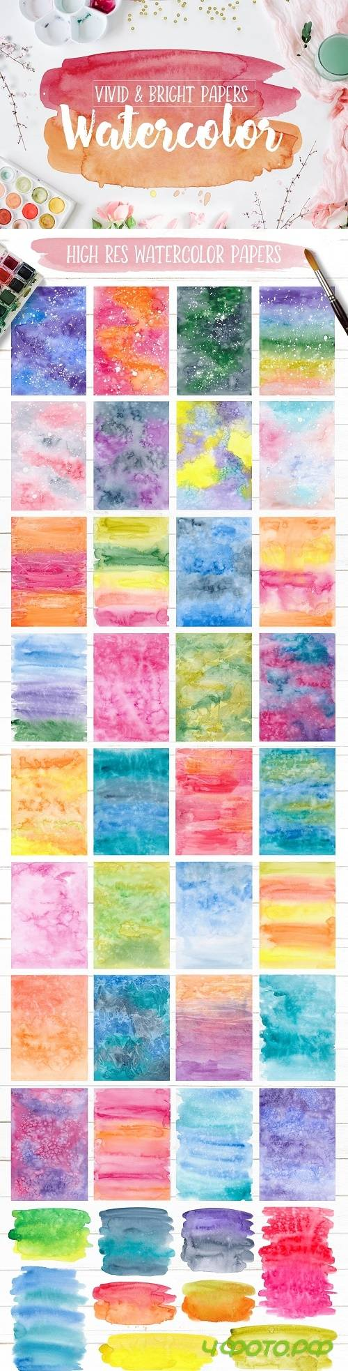 Vivid & Bright Watercolor Textures - 3006263