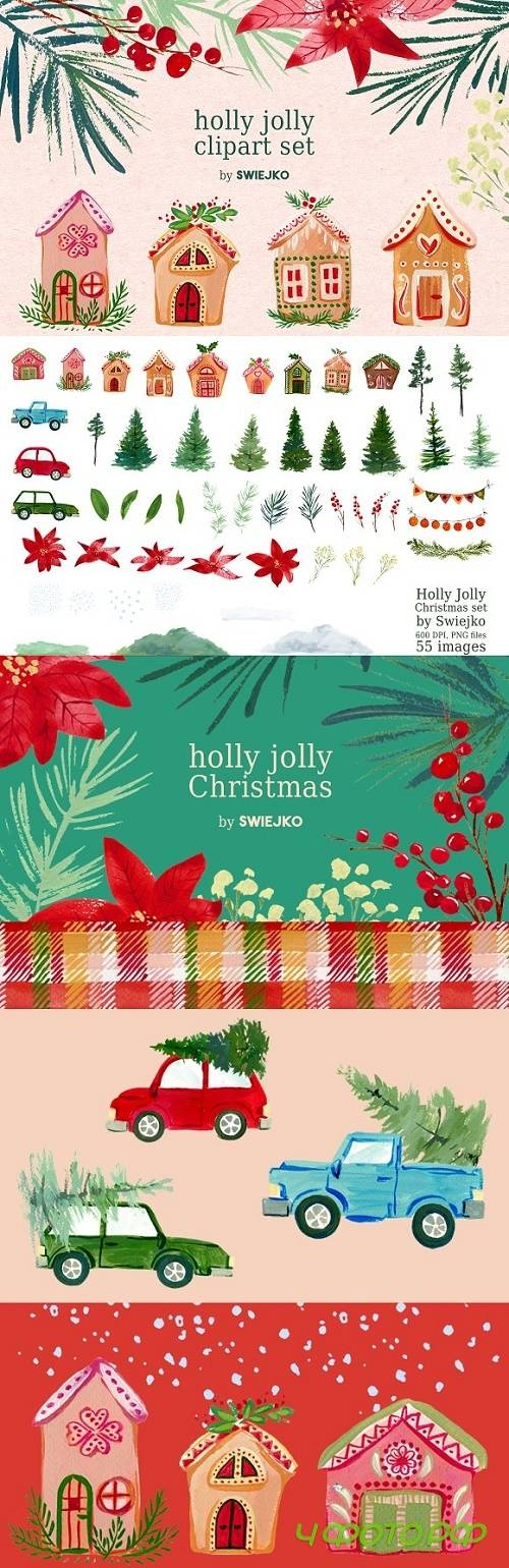 Gouache Christmas clipart set - 2106962