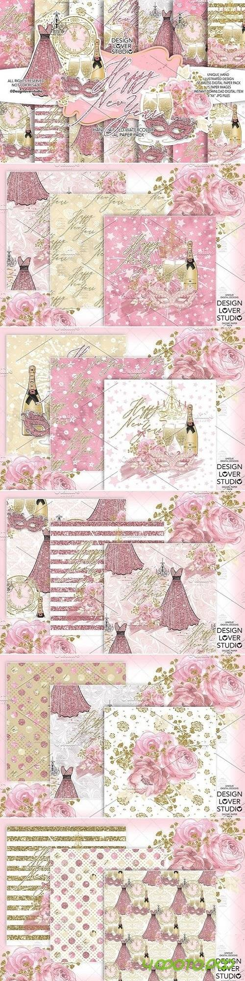 Happy New Year digital paper pack - 3100942