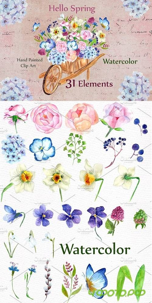 Watercolor wedding flowers clipart - 636780
