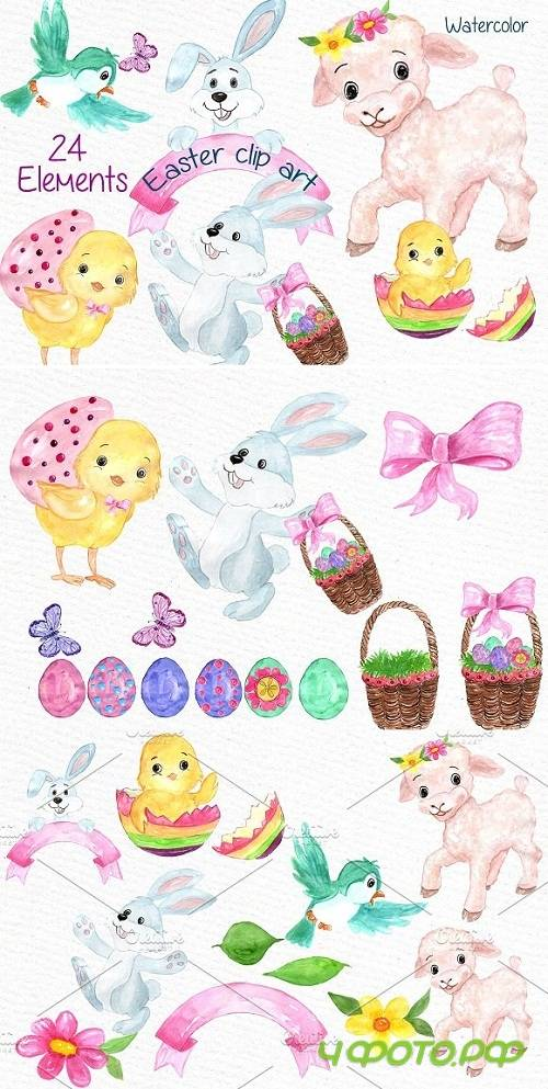 Watercolor Easter kids clipart - 638452