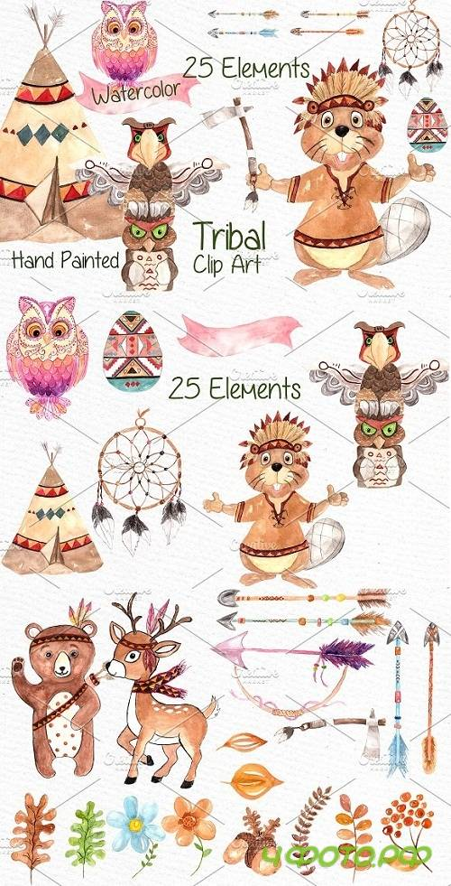 Watercolor kids tribal clipart - 638633