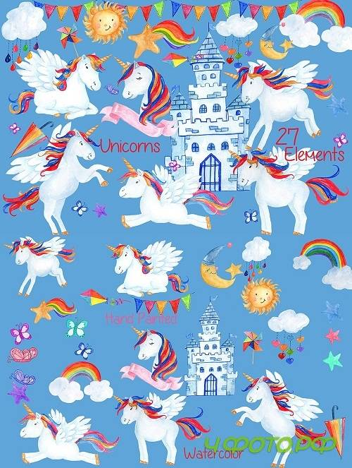 Watercolor Unicorn clipart - 1151803