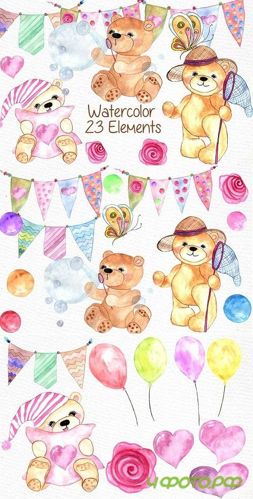 Watercolor teddy bear clipart - 638425