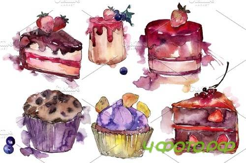 Dessert Love story Watercolor png 3694726