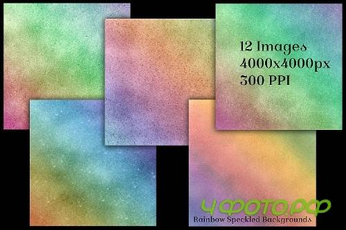 Rainbow Speckled Backgrounds - 12 Image Textures Set - 248408