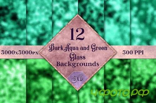 Dark Aqua and Green Glass Backgrounds - 12 Image Textures - 247901