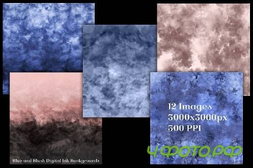 Blue and Blush Digital Ink Backgrounds - 12 Image Textures - 247862