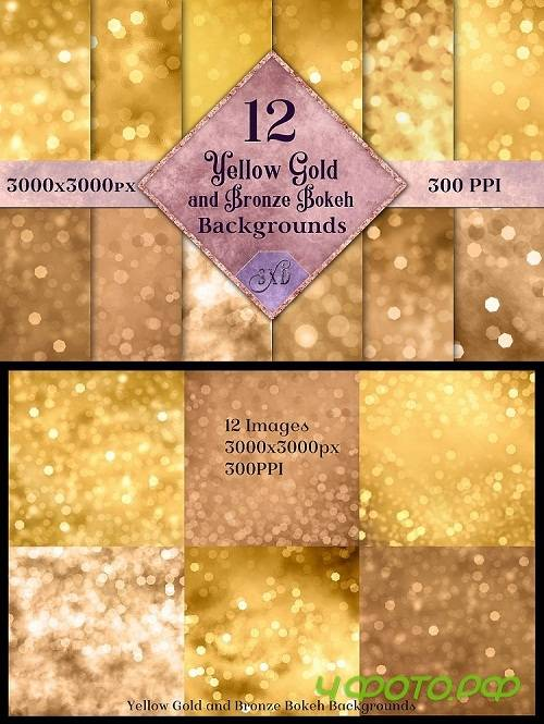 Yellow Gold and Bronze Bokeh Backgrounds - 12 Image Textures - 261917