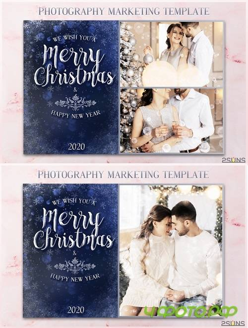 Christmas Card Template, Photoshop template 5x7 flat card - 269262