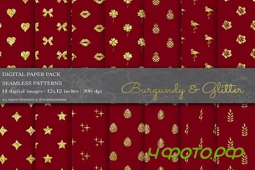 Burgundy Glitter Digital Papers - 3808237