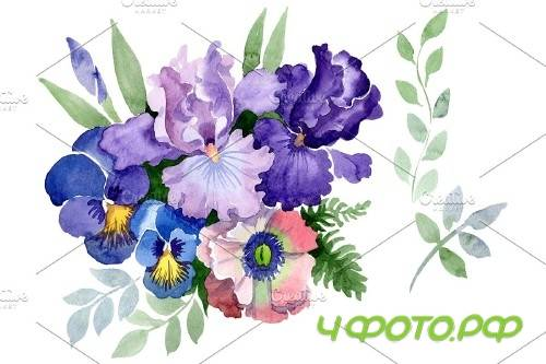 "Bouquet ""Three wishes"" watercolor - 3886019"