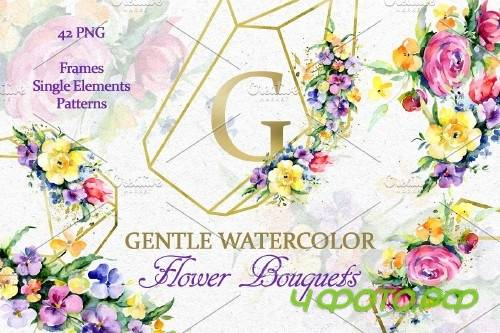 Gentle flower Bouquets Watercolor - 3882616