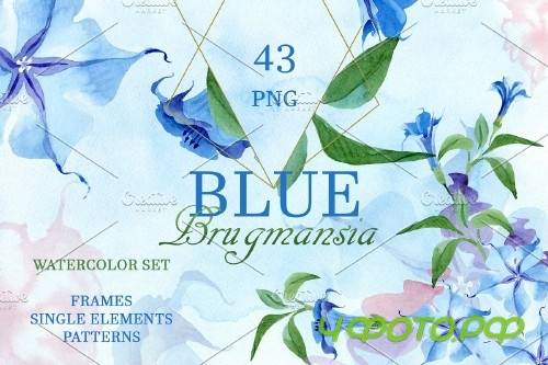 Blue Brugmansia Watercolor png - 3882206