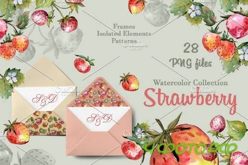 Tasty juicy strawberry watercolor - 3882622