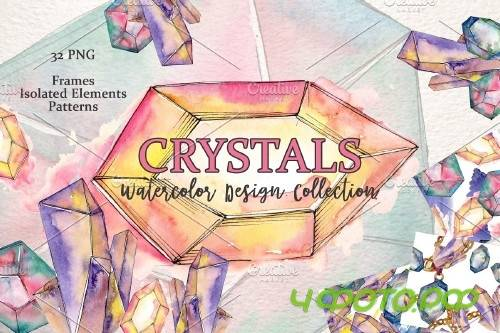 Platinum crystals watercolor png - 3887100
